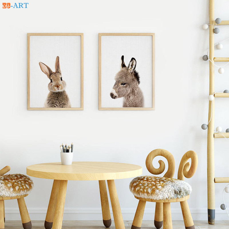 Us 4 38 27 Off Modern Donkey Rabbit Prints Nursery Animal Wall Art Baby Shower Gift Kids Room Cute Canvas Painting Home Decor Framed In