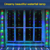 JXSFLYE 3x3M 320LED water flow snowing effect curtain led waterfall string Light Christmas Wedding Party Background garden Decor