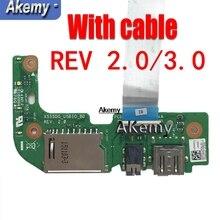 Оригинальный с кабелем для ASUS X555 X555L X555LD X555LD_IO X555D X555DG X555QG X555Q USB звуковая карта плата считывателя 100% тестирование