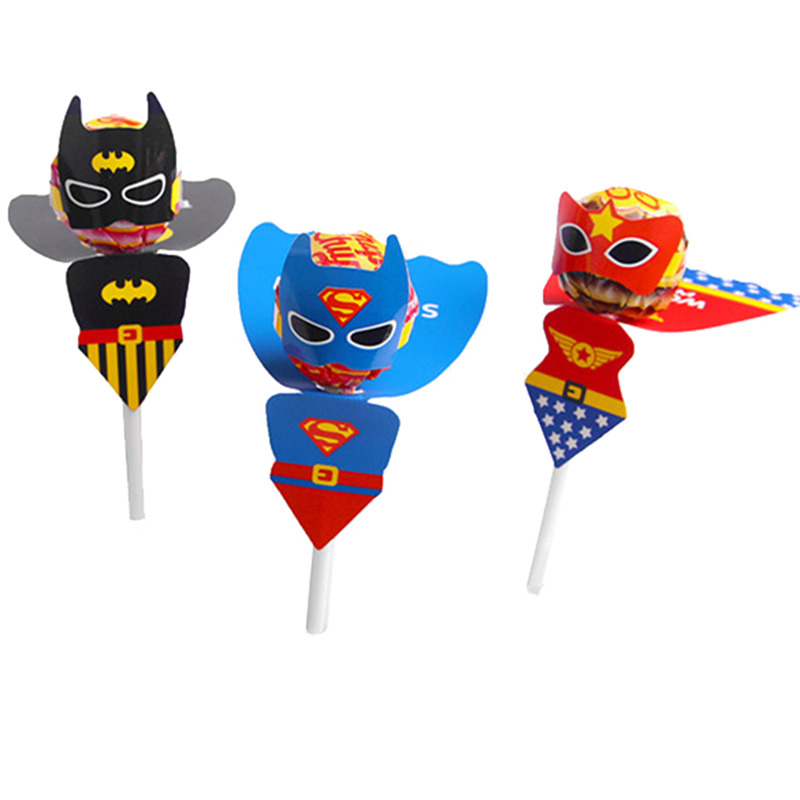 18pcs Superhero Superman Batman Cartoon Candy Lollipop Decoration Cards For Kids Birthday Party Supplies Candy Gift Accessories