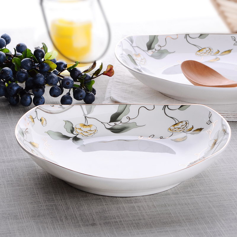 Creative Ceramic Tableware Dinner Plates Deep Dish Meal Tray Salad Dishes Fresh Fruit Salad Snacks Bone China Dish Sugar-bowl