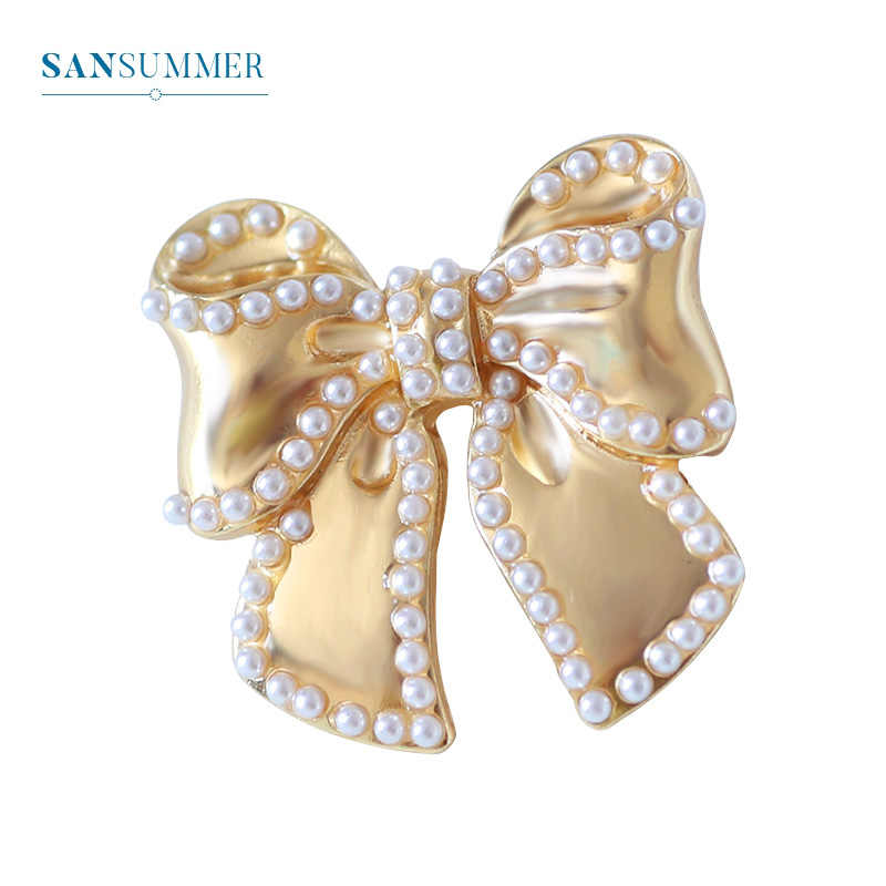 Sansummer New Hot Fashion Golden Bowknot Flower Pearl Romantic Feautiful Elegant Party Brooch For Women Jewelry 835