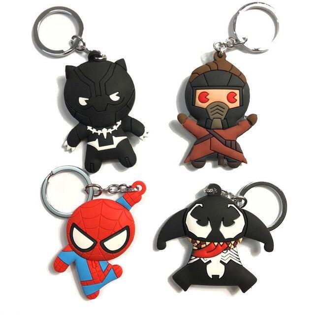 Maravilha Herói Deadpool SpiderMan Batman Superman Venom Figura Brinquedos Corrente Chave DC Herói Aquaman PVC Dois-lados Chaveiro Presente para As Crianças
