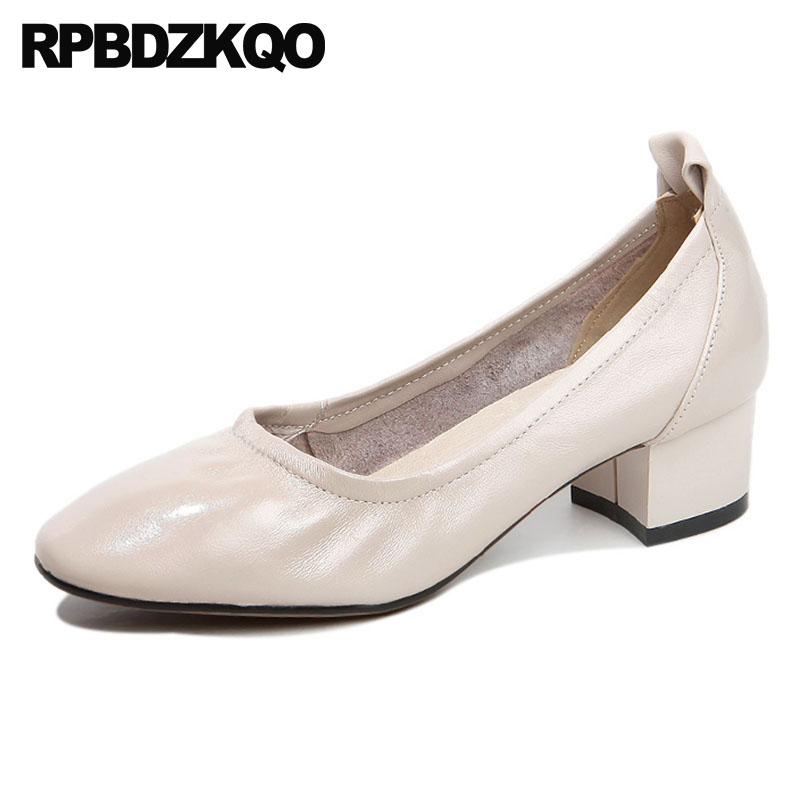 Beige Top Quality High Heels Women Leather Grey Shoes Medium Size 4 34 Retro 2018 Handmade Pumps Genuine Chunky Square Toe Glove handmade genuine leather sandals women shoes lady high quality 2017 summer red silvery closed toe medium heels big size 10 41 42