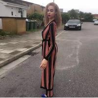 Высокая уличная Новая мода подиум 2018 Дизайнерский Костюм Комплект женский полосатый вязаный Тренч брюки набор