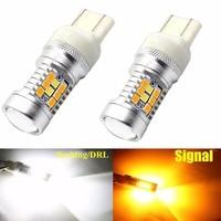 2Pcs W21 5W Super Bright SMD LED Switchback Amber Orange White 6000K 7443 T20 One Bulb