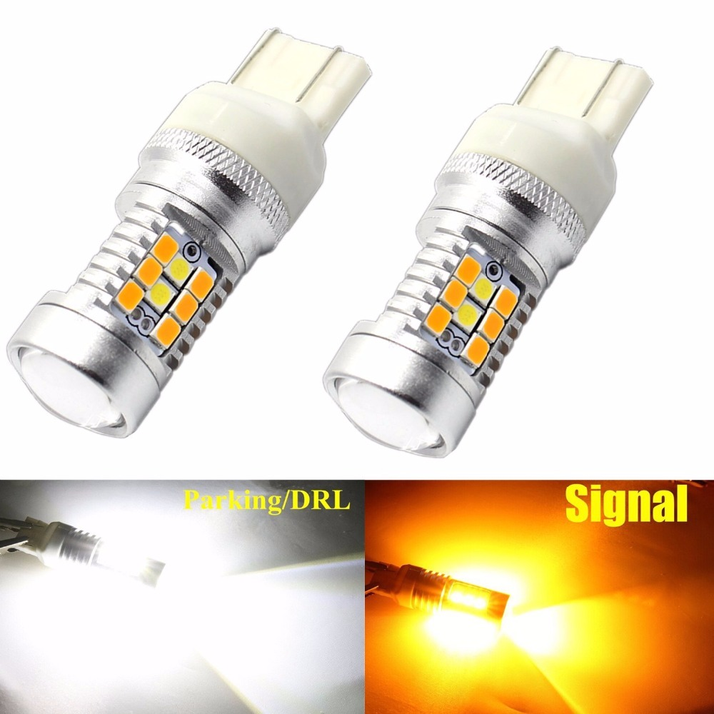 2Pcs W21/5W Super Bright SMD LED Switchback Amber Orange White 6000K 7443 T20 One Bulb Dual Color Car Turn signal Light Lamps
