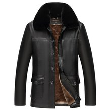 Winter Mens Leather Jacket Warm Wool Liner PU Turn down Collar Velvet Business Casual Men Fur Coat collar fur in one