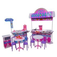 For Barbie Furniture Kitchen Burger Fast Food Restaurant Doll House Girl Birthday Gift