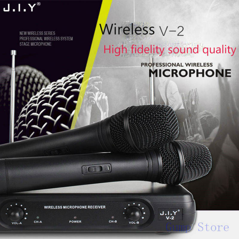 JIY HIFI Wireless Microphones Professional dual Handheld Wireless Microphones Mic Receiver System for disco KTV karaoke computerJIY HIFI Wireless Microphones Professional dual Handheld Wireless Microphones Mic Receiver System for disco KTV karaoke computer