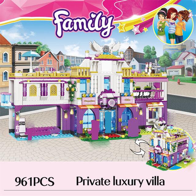 961PCS Private Luxury Villa Building Blocks Compatible Friends Girls Princess House Castle Bricks Toys for Girls Gift