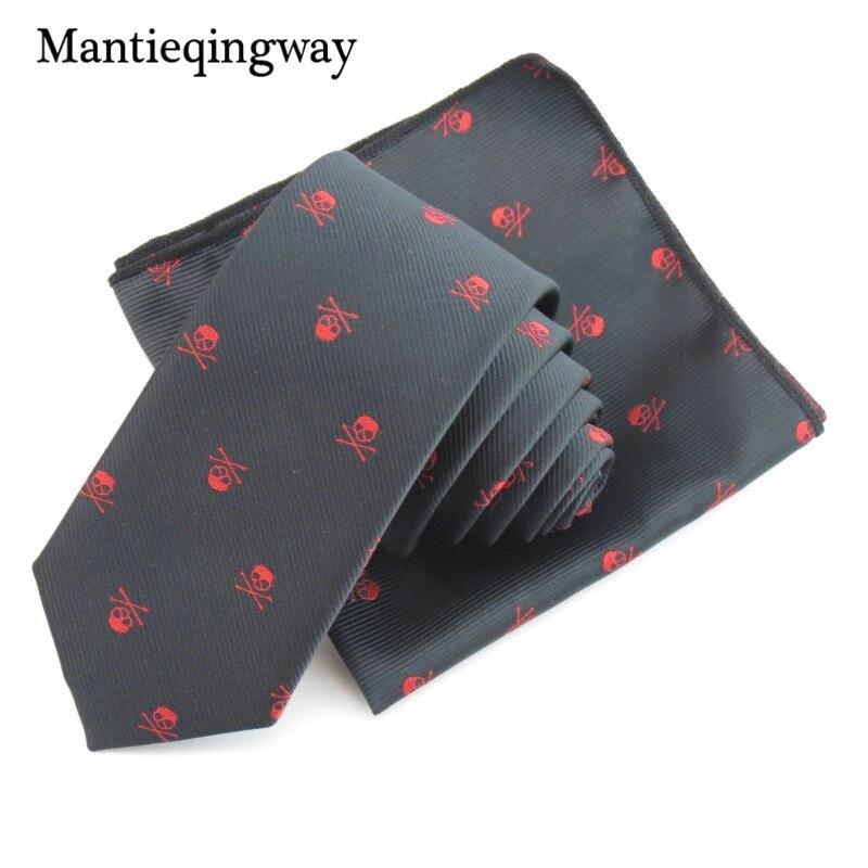 Mantieqingway Bisnis Saputangan Dasi Polyester Dasi Set Tengkorak - Aksesori pakaian - Foto 3