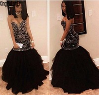 Mermaid Sweetheart Off The Shoulder Silver Beaded Sequins Black Tulle Sexy Hot Girls Pageant Prom Dress
