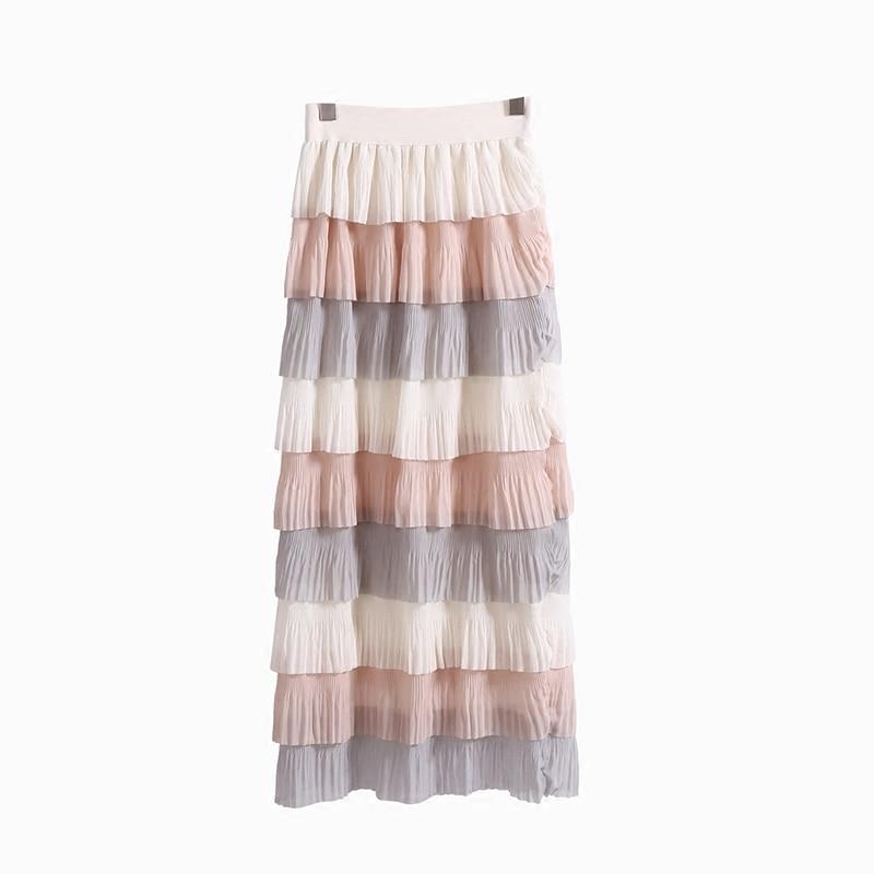 d2c144c7e8db6 Young Gee Spring Summer Women Fashion Sweet Chiffon Layers Long ...