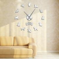 Cão Da Raça Cocker Spaniel Cockapoo DIY Grande Relógio de Parede Sem Moldura DIY Gigante Relógio de Parede Movimento Silencioso Relógio de Presente Dos Amantes Spoodle|Rel. parede| |  -