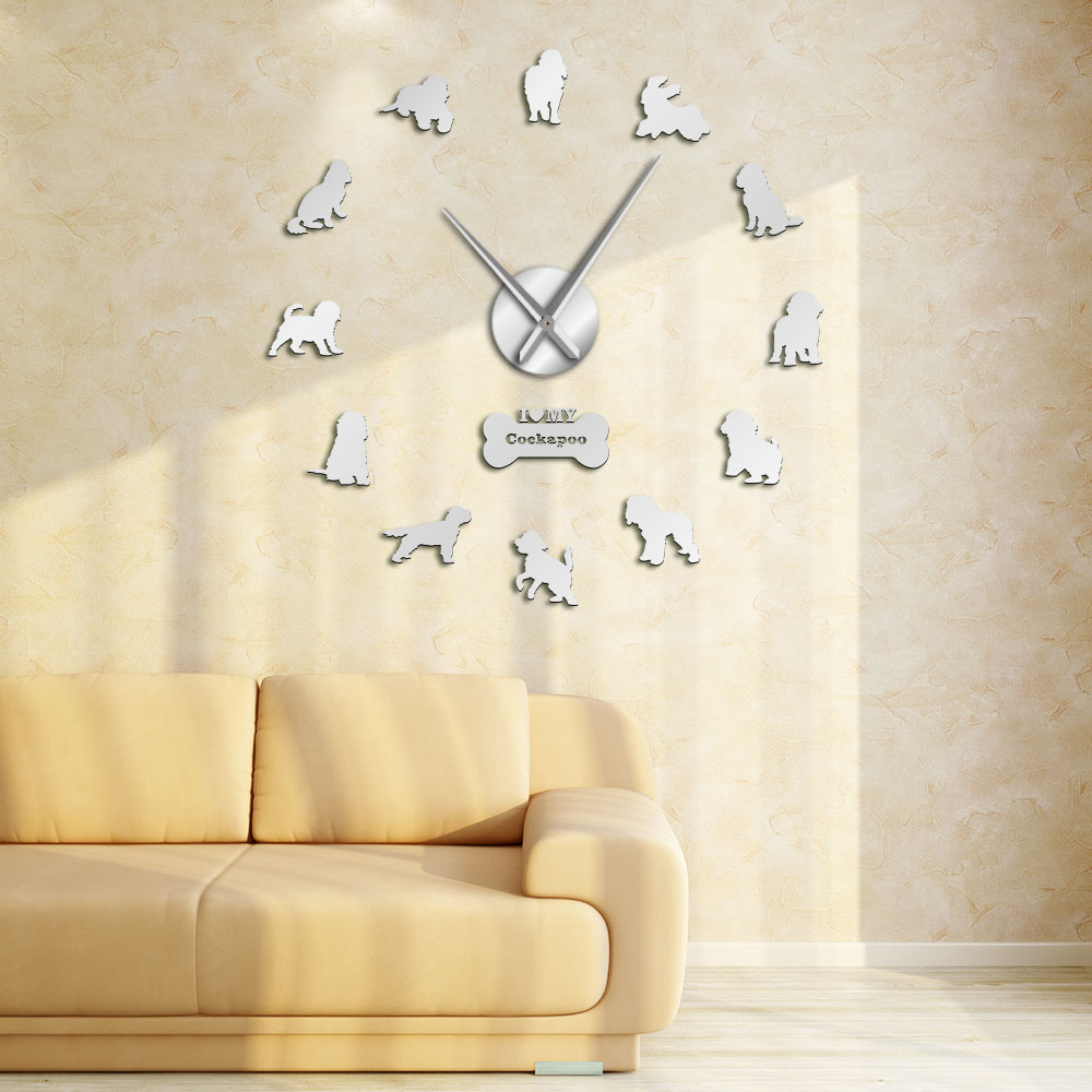 Cockapoo DIY Large Wall Clock Cocker Spaniel Dog Breed Frameless DIY Giant Wall Clock Silent Movement Watch Spoodle Lovers Gift