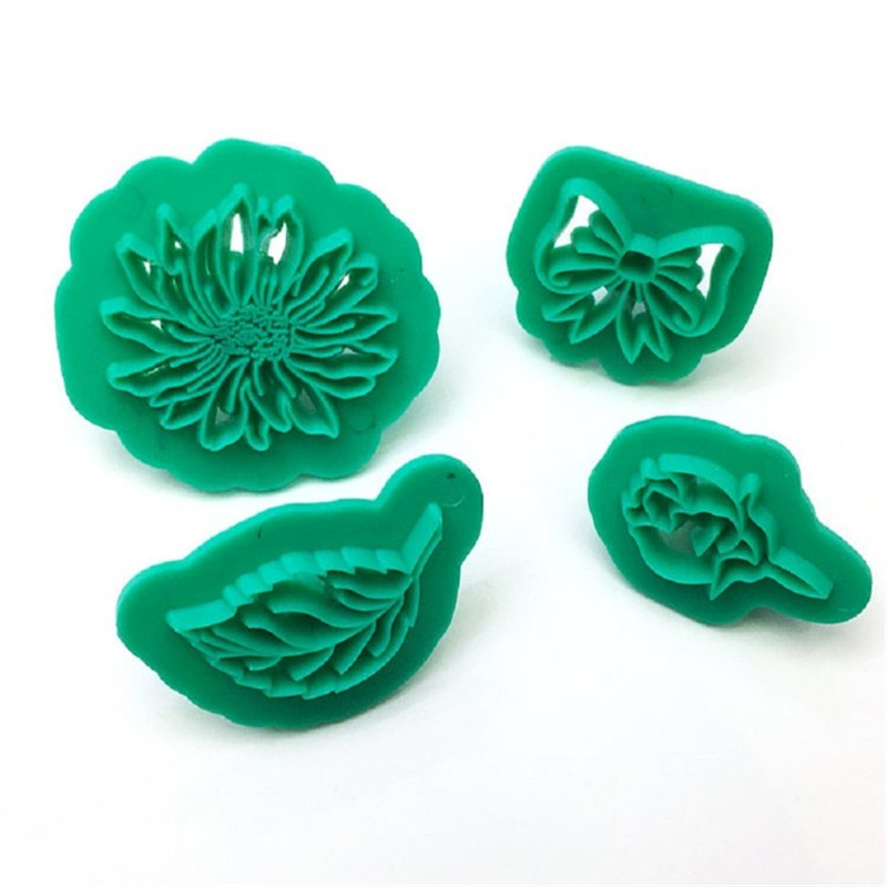 TTLIFE 4PCS Flowers Leaves Bowknot Cookie Cutter Plastic Baking Mold Fondant Cake Sugarcraft Decoration Tool Pastry Biscuit Mold