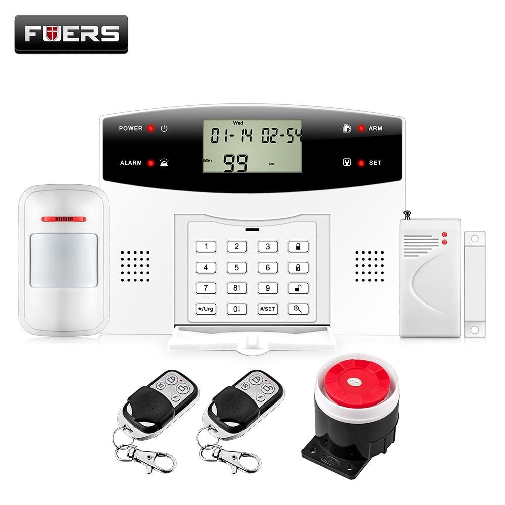 Fuers 99 Wireless 4 Wired zones GSM PSTN Alarm Security Systems Home Remote Control Burglar Alarm System wireless emergency help panic button sensor for my 99 zones home alarm system gsm pstn security burglar alarm