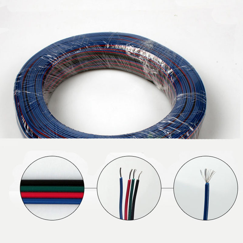 10M/lot 4 pins RGB extension flat cable wire cord for 5050 LED RGB Strip and RGB modules,led accessory,joint connection wire стоимость