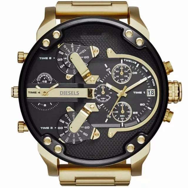 Wristwatch Montre luxe Military Clock Leather Strap 53MM Big dial DZ Stainless steel Watch Men's Sport Quartz Diesels Watch