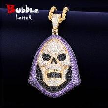 Hoody Schedel Purple Stone Hanger Ketting Tennis Chain Goud Kleur Aaa Zirconia Hip Hop Rock Sieraden