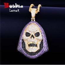 Hoody Skull Purple Stone Pendant Necklace Tennis Chain Gold Color AAA Cubic Zirconia Hip hop Rock Jewelry