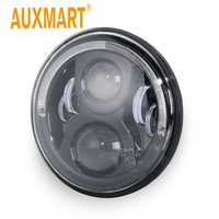 Auxmart 7 36W Round LED Projector Headlight W Halo Ring Angel Eye Hi Lo beam H4 canbus harness 12V/24V For Touring Softail