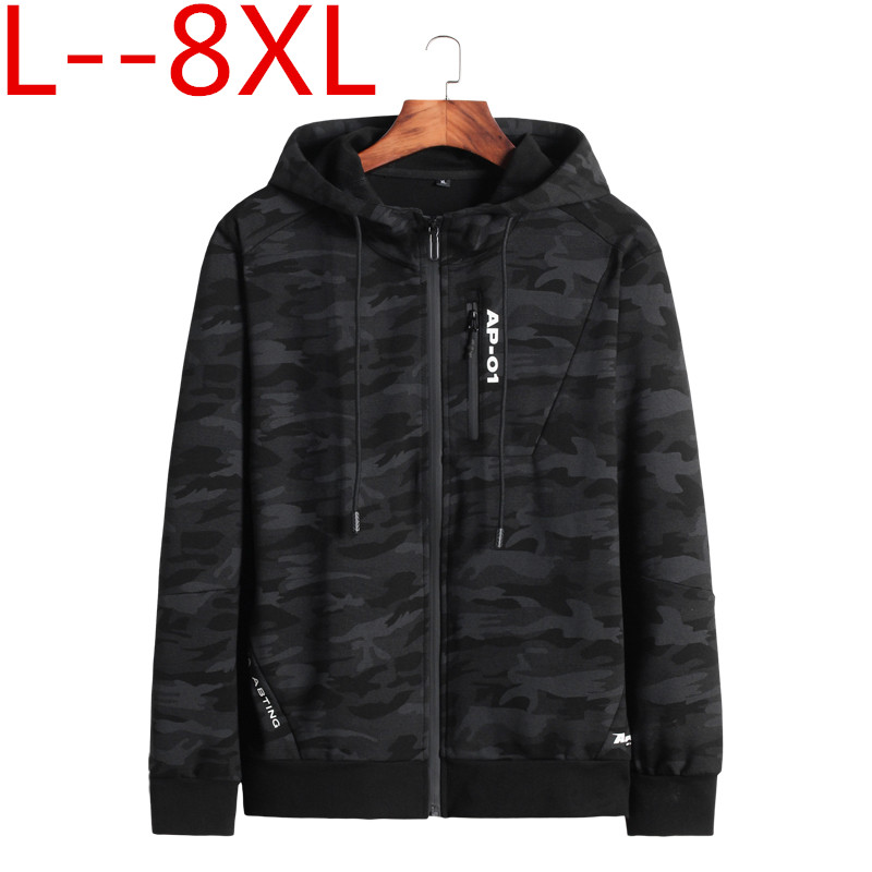10XL 8XL 6XL 2018 Printemps Automne Hommes décontracté sweater à capuche camouflage Veste Homme Coupe Vent Vêtements Hommes Coupe Vent Manteau vêtements pour hommes