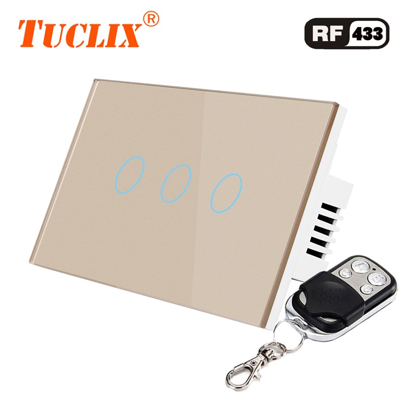 TUCLIX US Standard Remote Control Switches 3 Gang 1 Way Crystal Glass Switch Panel Remote Wall Touch Switch in Switches from Lights Lighting