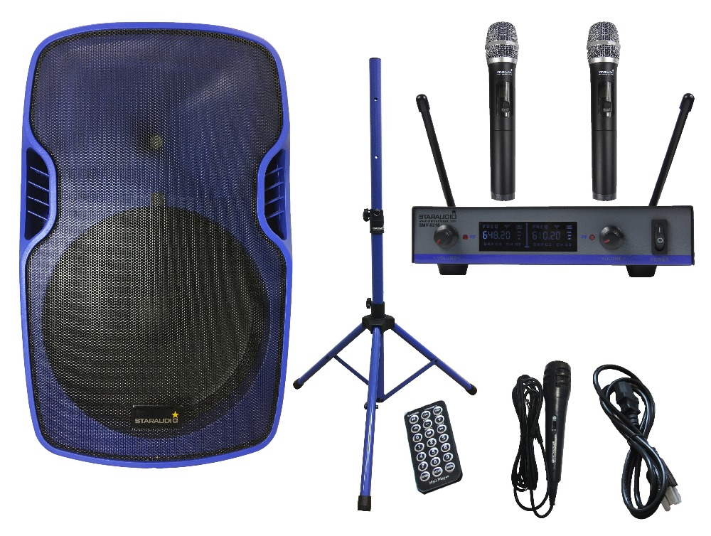 STARAUDIO Blue 15 3500W Powered Active PA DJ Stage USB SD BT FM Speaker W/ Stand 2CH UHF Wireless Mic Wired Mic SSBM-15