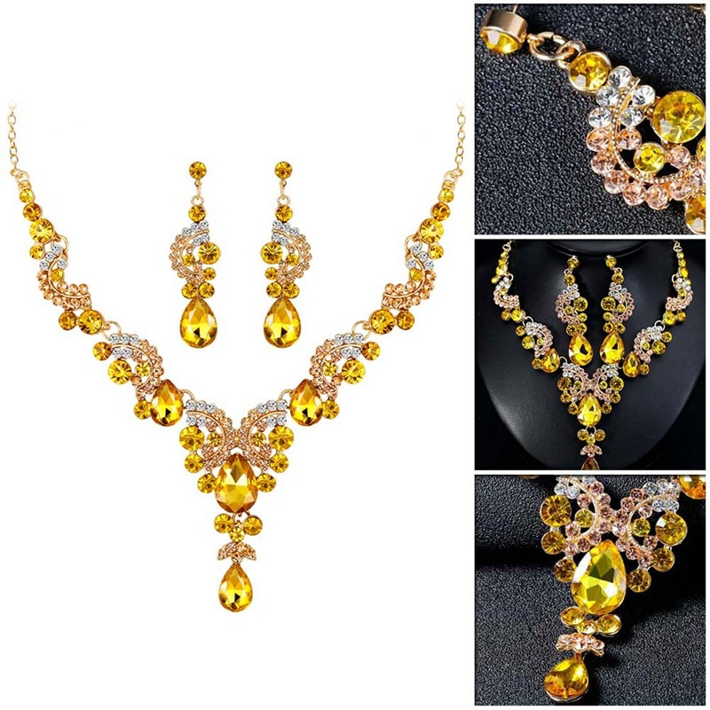 Luxury Multi-color Crystal Wedding Jewelry Sets Party Costume Accessories Indian Earring Necklace Sets for Brides Women's Gifts