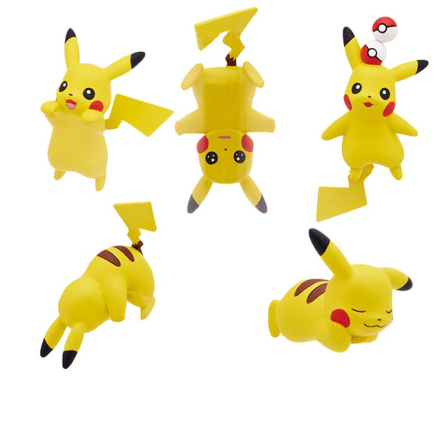 Creative Pikachu Figure Keychain 6pcs/lot Anime Cute Pokemon Pendants Key chain Wholesale Jewelry chaveiro free shipping