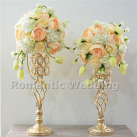 Free shipment 10PCS/lots Gold Metal Crystal Bead Flower Vase Centerpiece Lead Road for Wedding decorations event party