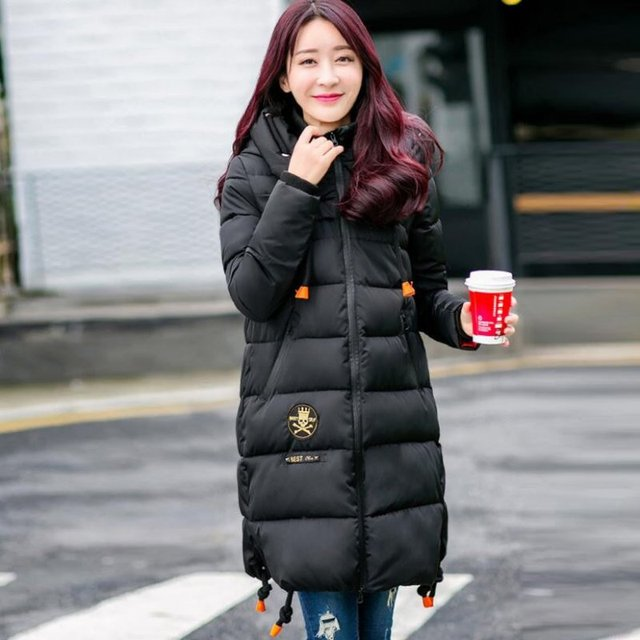 c5b1ea368 2017 Fashion Women Thicken Warm Winter Coat Hooded Parka Overcoat Long  Hoodie Jacket Ladies Outwear Green Red Black