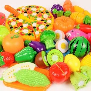 Image 1 - 1/6/10/37 pçs fingir jogar, de plástico, comida, brinquedos, novo, corte, frutas, vegetais, jogar, cozinha, brinquedos jogar casa brinquedo de cozinha em miniatura