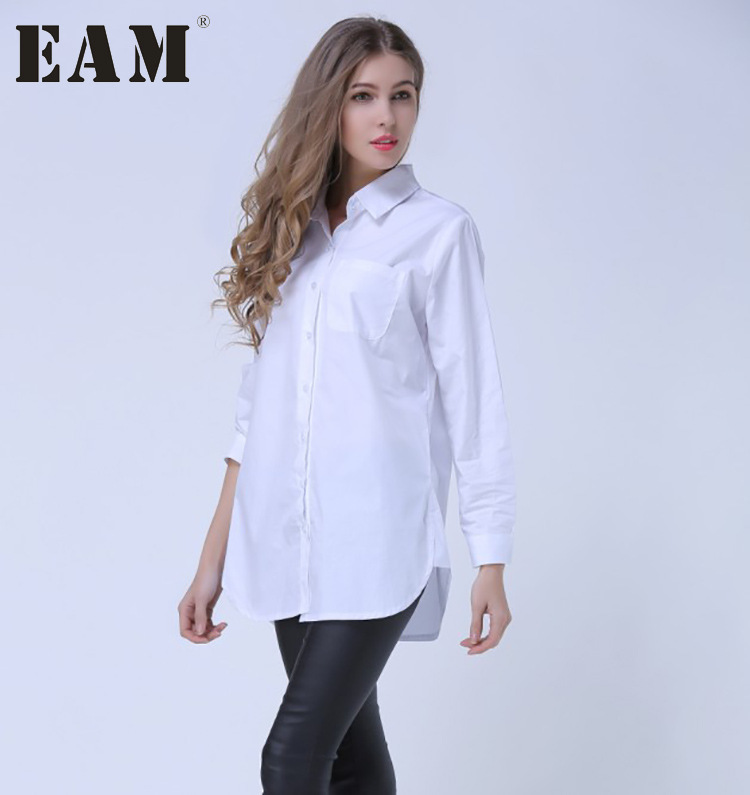 [EAM] 2018 Herbst Revers Mode Neue Langen Ärmeln Solid Color Blau Gestreiften Lange Absatz Lose Frauen Shirt Flut g01605