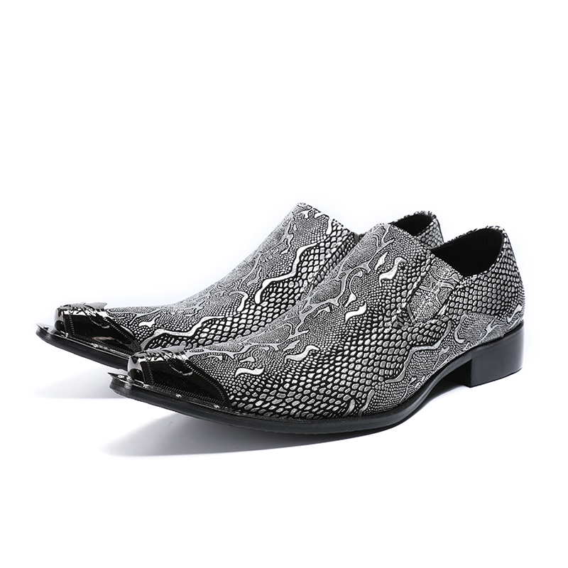 Deification Casual Leather Dress Men Shoes Metal Pointy Toe Italy Classic Style Business Wedding Formal Shoes Slip On Men Flats - 3