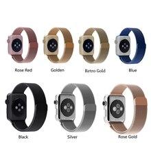 11 colores magnética milanés banda de lazo y del acoplamiento pulsera correa de acero inoxidable para apple watch 42mm 38mm correa de reloj