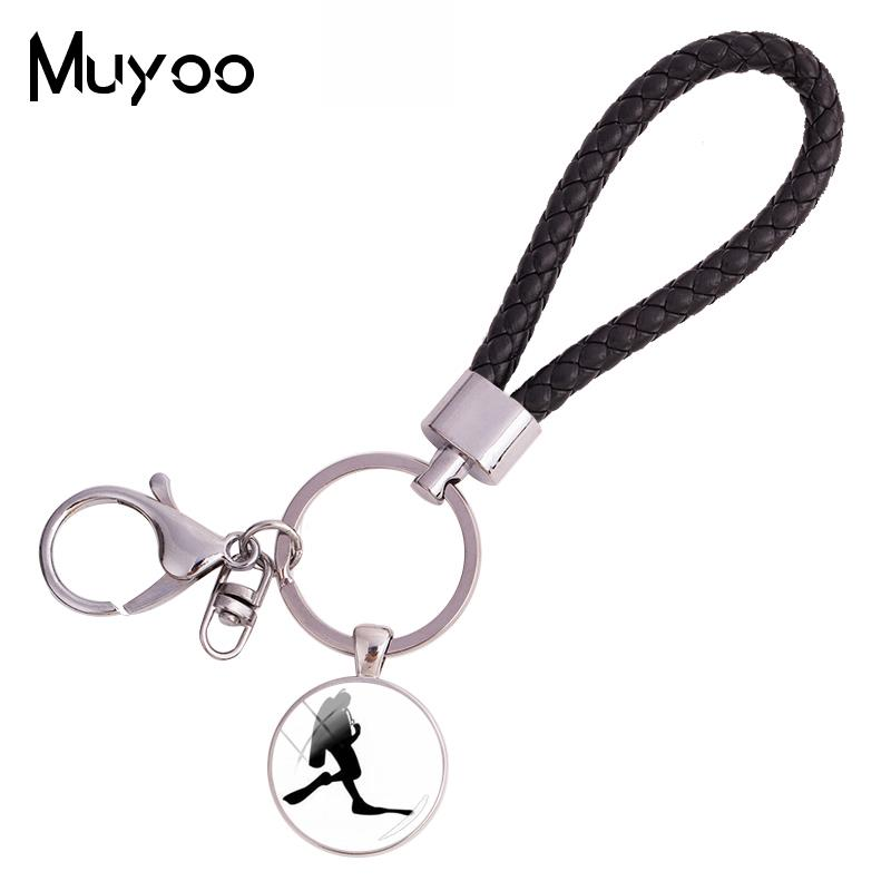 2018 New Diver Figure Silhouette Leather Rope Keychain Glass Photo Key Ring Round Handmade Keychains Jewelry