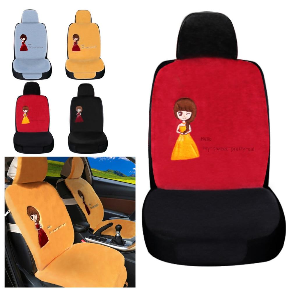 Dewtreetali New Arrival 1pc Front Car Seat Cover Pretty Girl Cushion Winter Plush Car Pad Interior Accessories for Truck Van ...