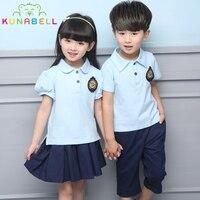 Children Teenage Girls Boys School Uniforms Sets Cotton T-shirt +Pants Tutu Skirt Sets Boys Menina Menino Performing Suits L207