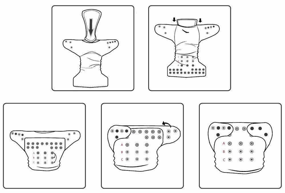 LilBit Baby One Size Regulowany pokrowiec na pieluchy Wielokrotnego - Pieluchy i Trenowanie toalety - Zdjęcie 6