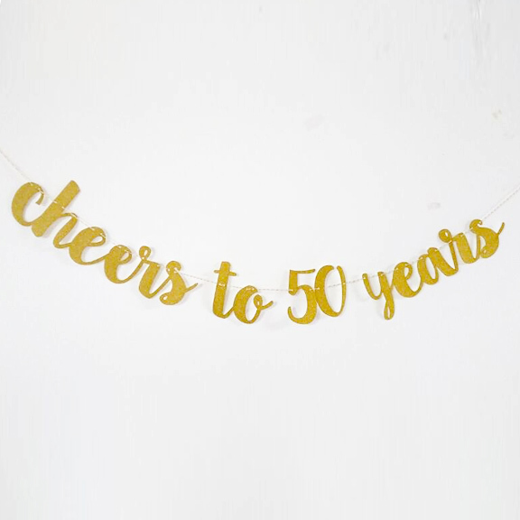 Cheers To 50 Years Banner50th Birthday Garland Fifty Party Decor Gold