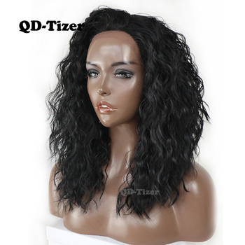 QD-Tizer Short Black Hair Synthetic Lace Front Wig Loose Wave Soft Hair Bob Style Wigs Heat Resistant Fiber Wigs For Women