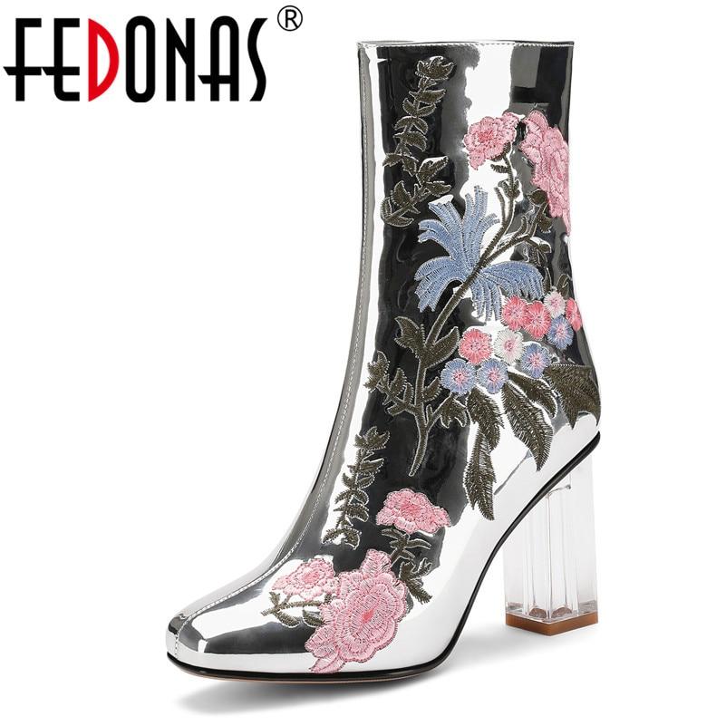 Fedonas 2019 겨울 새로운 패션 자수 마이크로 화이버 가죽 여성 mid calf 부츠 지퍼 하이힐 파티 오피스 신발 여성-에서미드 카프 부츠부터 신발 의  그룹 1