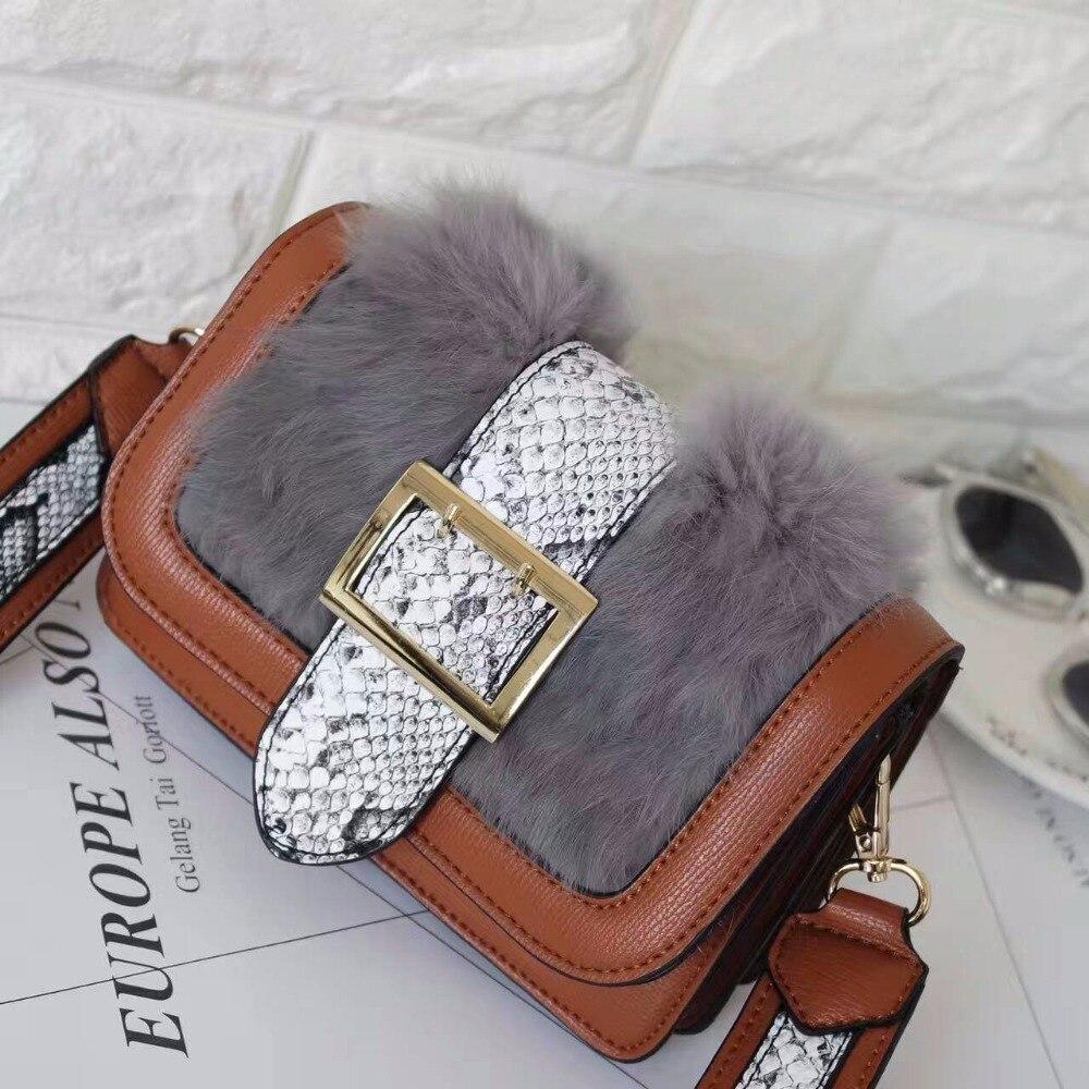 2016 Women Bags Lady font b Handbags b font PU Leather Cony Hair Serpentine Flap Bag