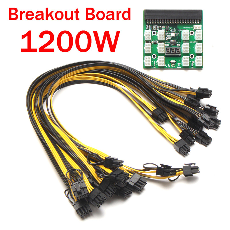 PSU Power Adapter Breakout Board 12V Ethereum ETH ZEC Devices Mining Power Supply 12pcs (12) PCI-E 6Pin To 6+2Pin Cables new hot breakout board 10pcs cable for hp 1200w 750w power module mining ethereum qjy99