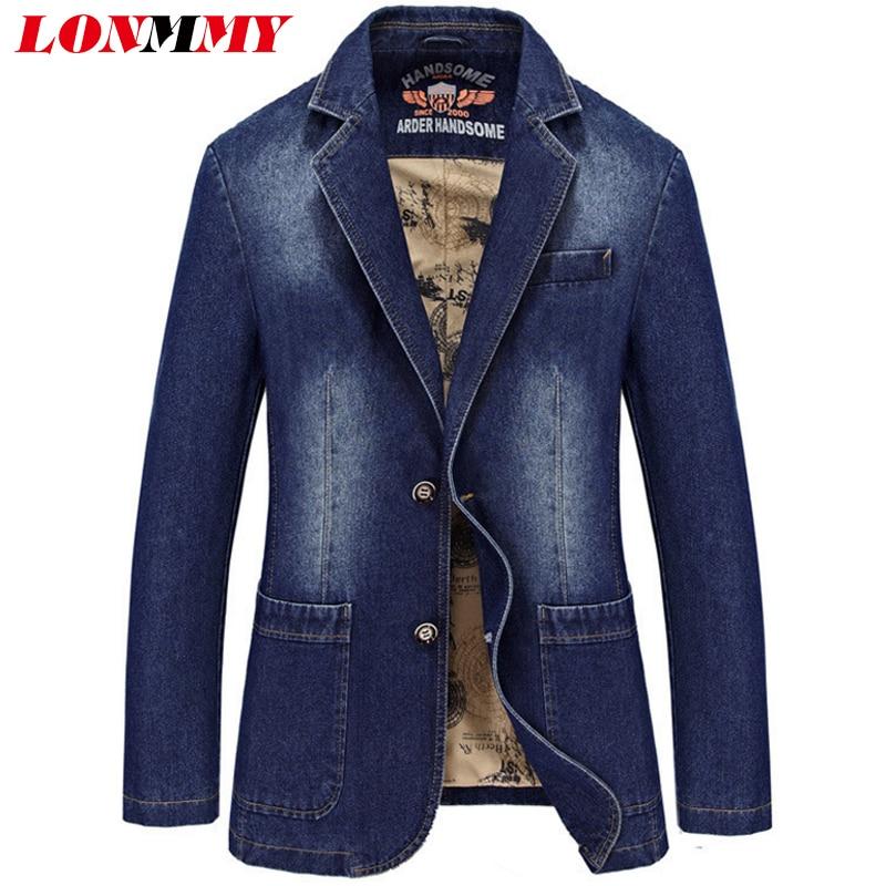 LONMMY M-4XL Férfi farmer blézer és dzsekik Alkalmi öltöny - Férfi ruházat