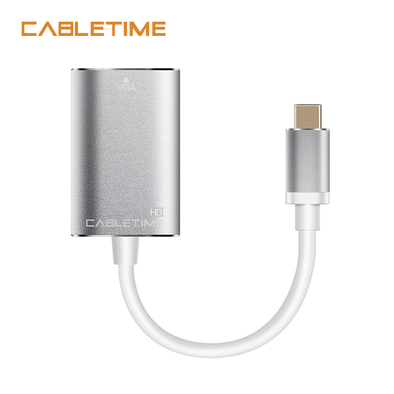 Cabletime New USB Type C VGA Adapter Type C Cable to VGA Converter USB C 3.1 For Macbook Chromebook Lumia Pixel Dell N127