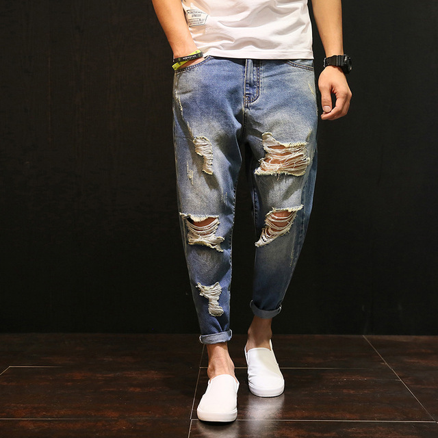 Men Baggy Ripped hole denim pants Male Distressed Harem Jeans Oversize 42 Hip Hop Cropped jean pants Do old Style Joggers A60504